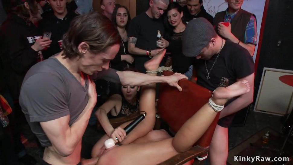 Slut anal gangbang fuck in public