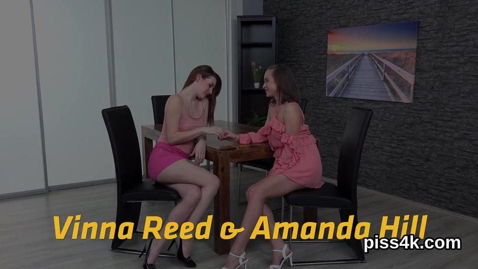 Natural lesbian girls get splashed with piss and blast wet cunts