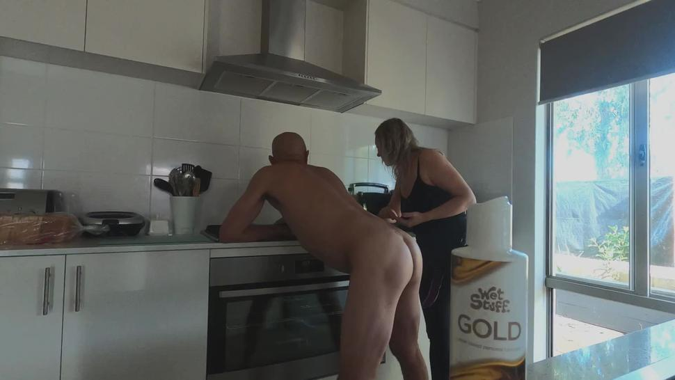 Cooking up a cum facial with rough strapon kitchen fuck! - MIN MOO
