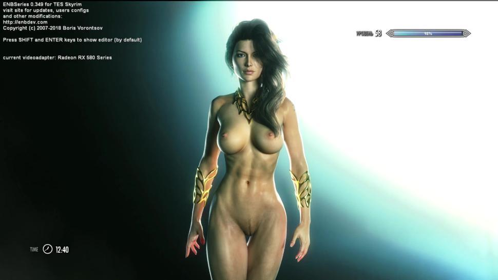 TES5 Skyrim My Own Mod Build Gameplay With Half-naked Orc Woman: Pirates