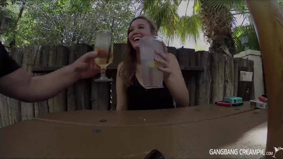 Gangbang Creampie Lesbian gets some cock and gets creamed