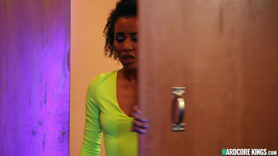Ebony has threesome interracial sex