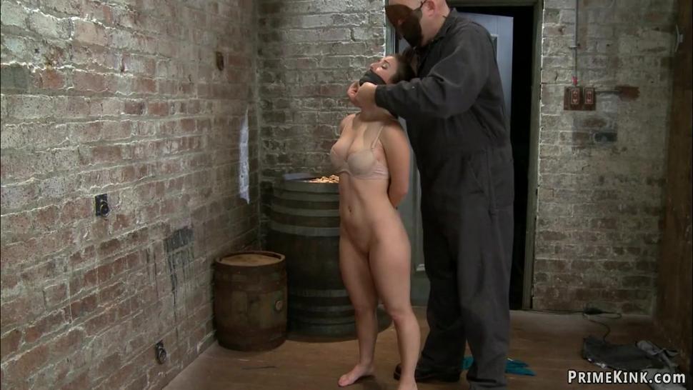 Petite slave walked on crotch rope