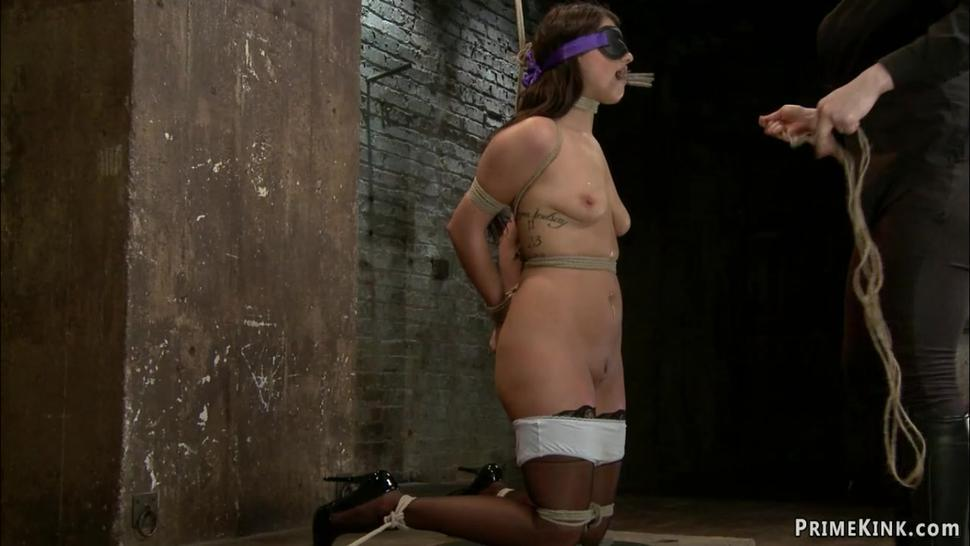 Lesbian slave clamped and toyed