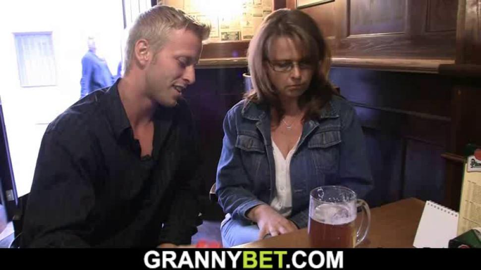 GRANNYBET - He brings boozed old woman home for dirty sex
