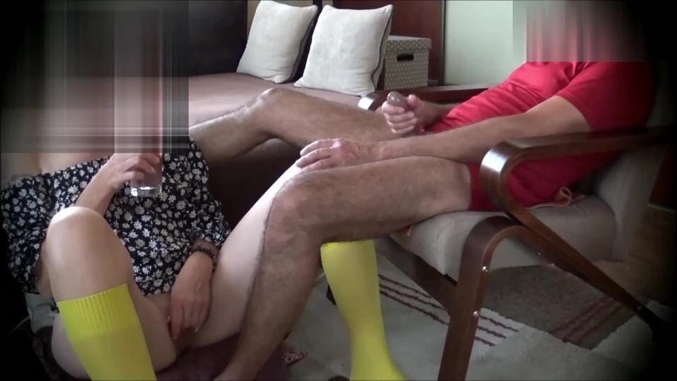 Chilling friends masturbate together and they look at each other