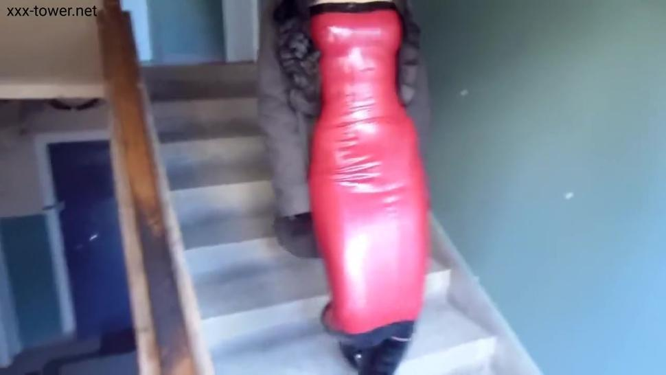 Wearing Latex Dress and Gloves in Public - Marilyn Yusuf Part 79