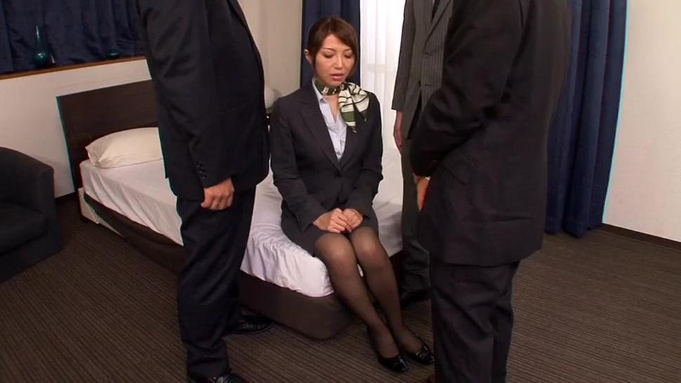 Business lady sucks 3 business men dry in hotel room