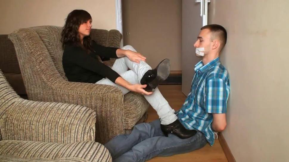 Mistress/nylon socks sniffing polish and