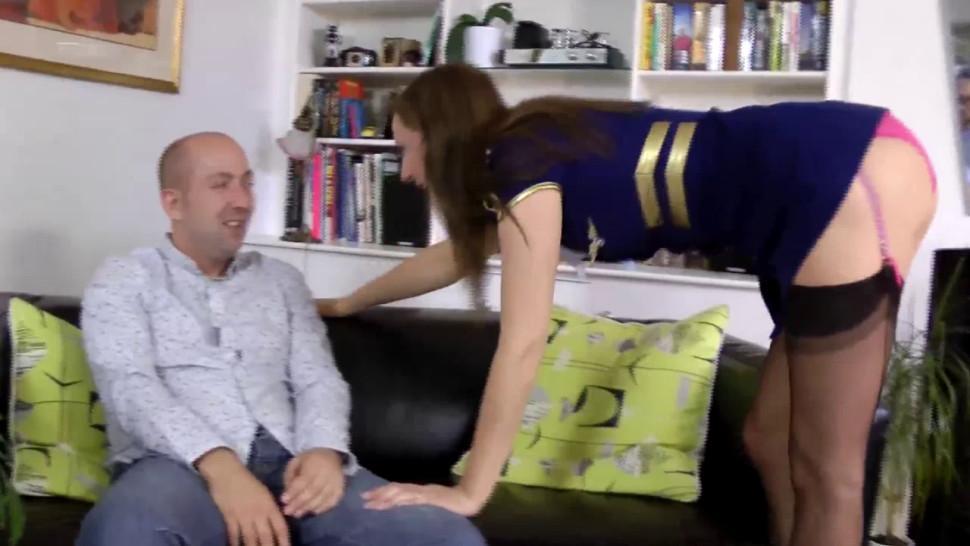 JIM SLIP - Mature stockings facialized after sucking