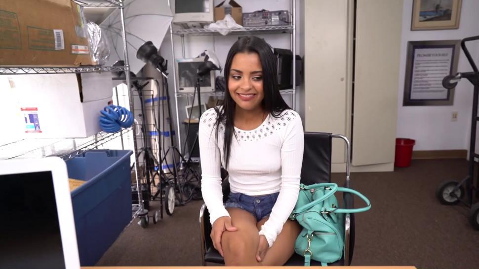 Job interview with hot Latina and horny casting agent turns into an interracial rough scene too good