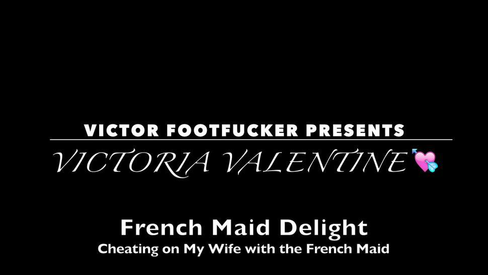 FRENCH MAID DELIGHT: Cheating on My Wife with the French Maid - Edging Blowjob and Soles Up Footjob