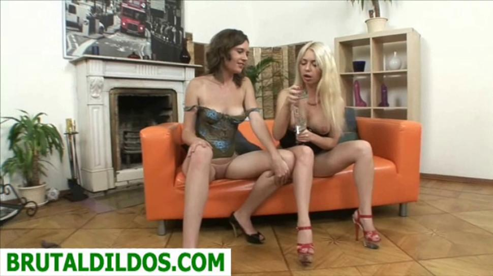 BRUTAL DILDOS - Isabella Clark ass pounded by friend with brutal dildo