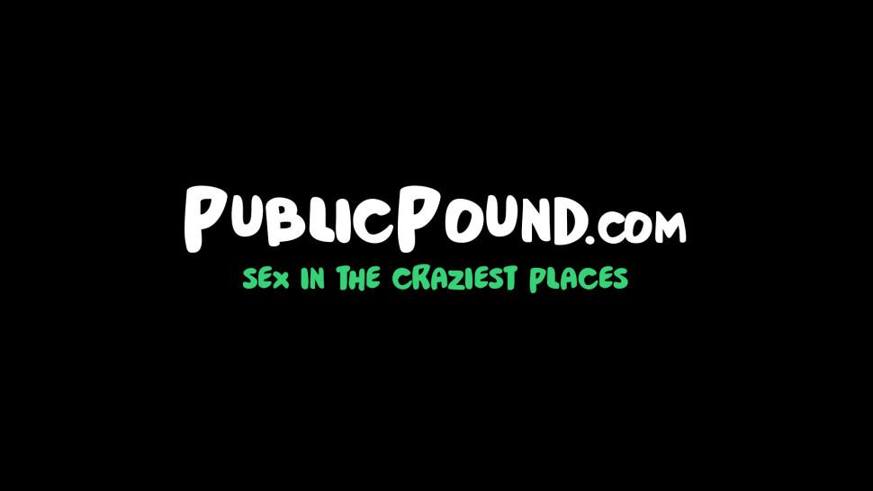 PUBLIC POUND - Bubble butt hottie bouncing on dick at a car lot