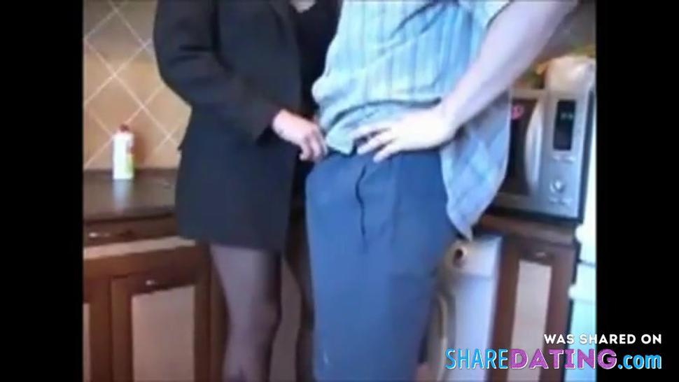 brunnete banged in the kitchen with facial