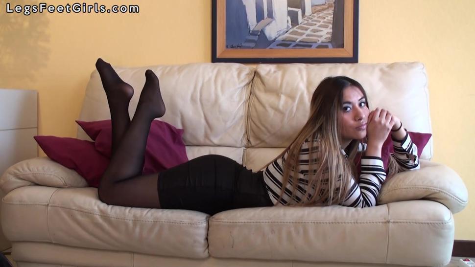 Black pantyhose feet pose