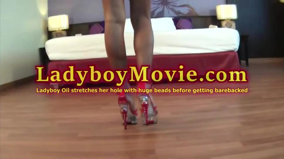 Ladyboy Ice toys ass hole and gets fucked bareback