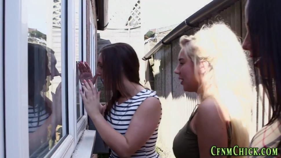 Busty cfnm mistress sucks naked losers cock