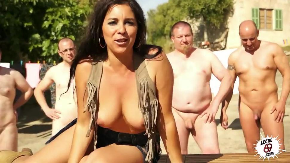 Spanish Girl Gets Gang Banged - Salma De Nora