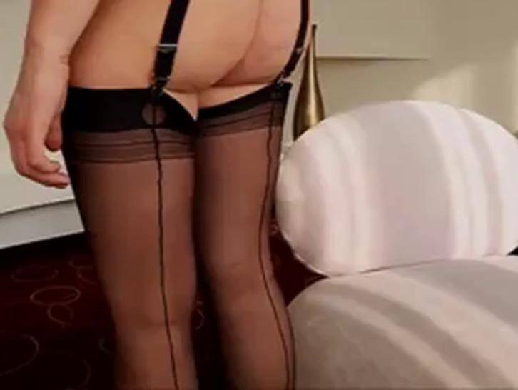 In my ff nylon stockings a corset red micro dress bare ass