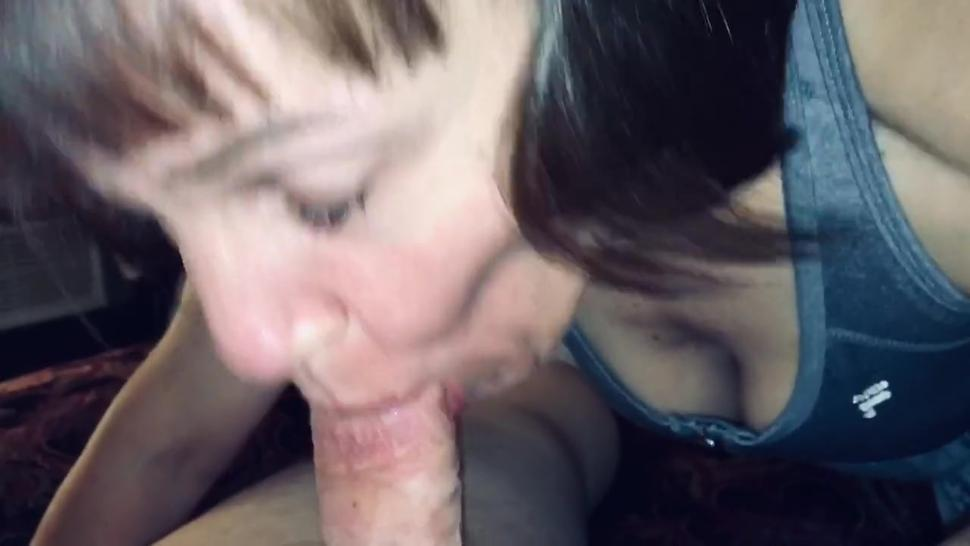 Mature Hot Wife sucking our friends dick dry while I watch and comment