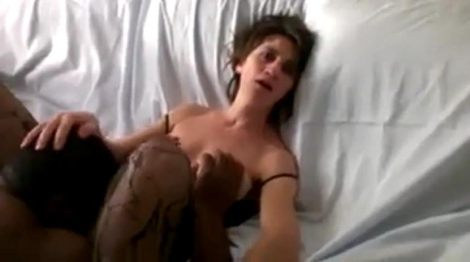 Great nipples girl looks at hubby while black eats her