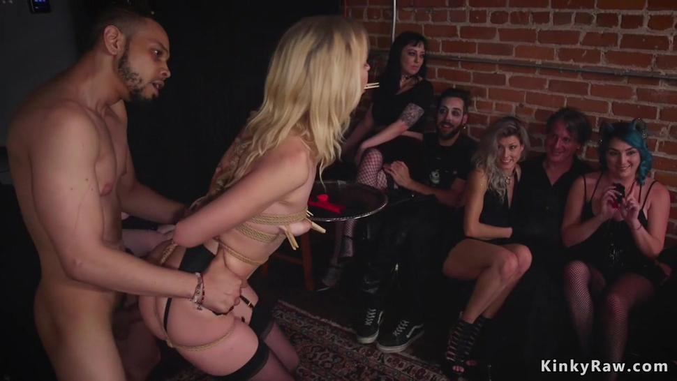 Ebony sub eats cum from blonds pussy