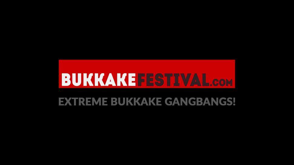 Blonde babe Tiffany Morriss sucks cocks at bukkake festival