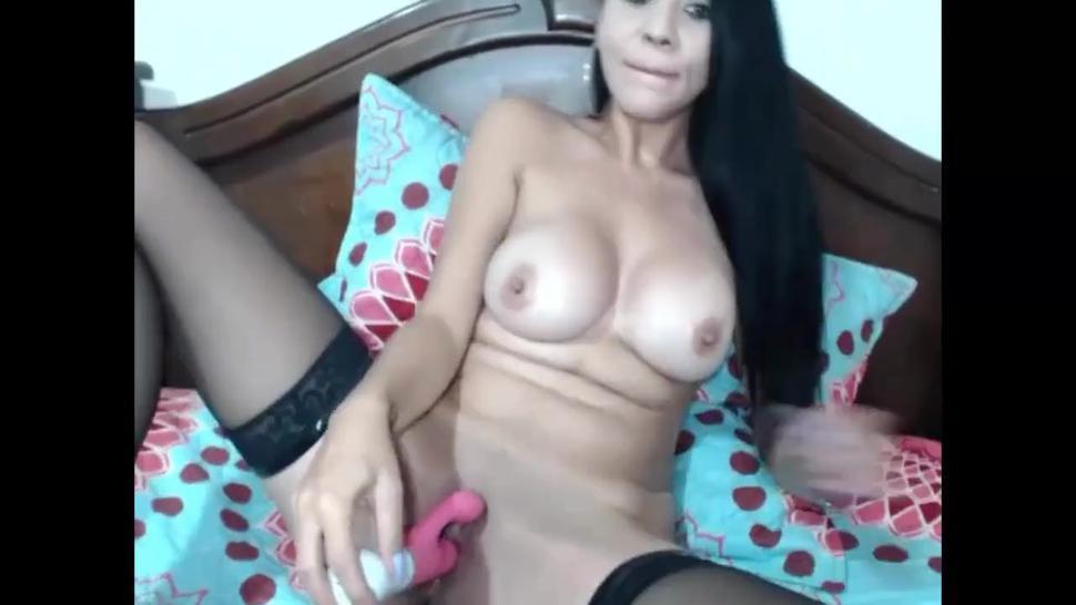 Hot Brunette Masturbate In Sexy Stockings
