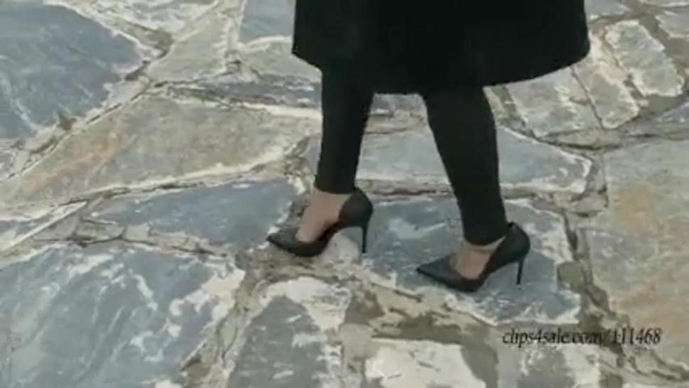 asia girl walking in heels