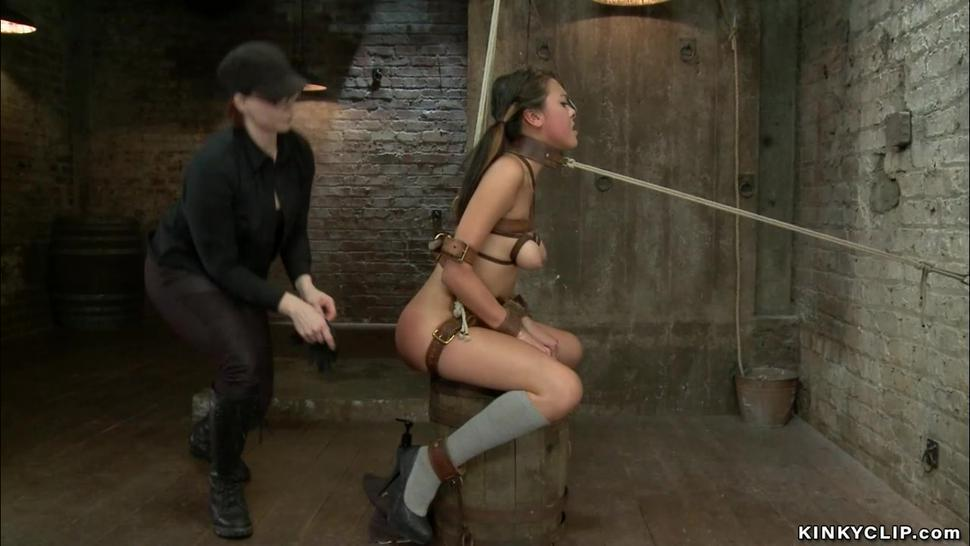 Bound little Asian anal fingered