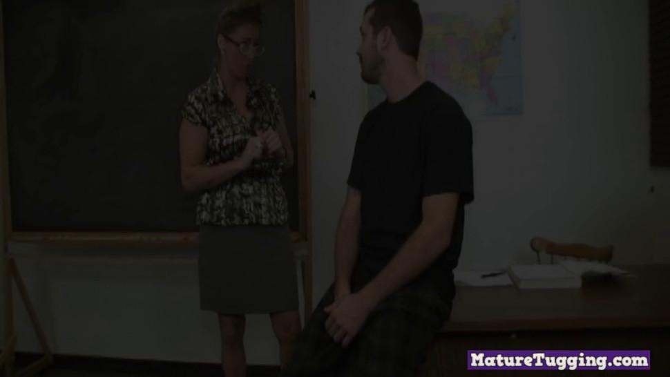 OVER40HANDJOBS - MILF teacher gives a naughty handjob