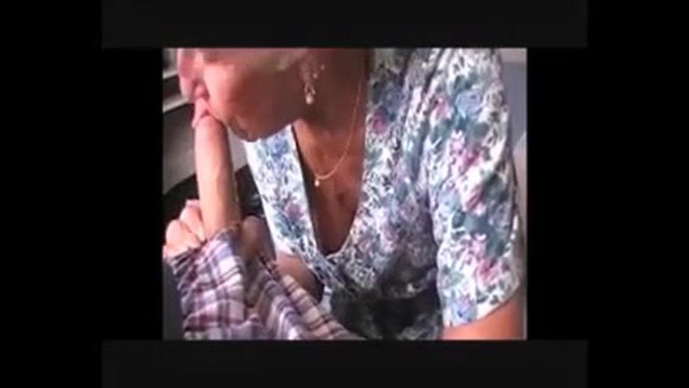 Very old granny sucking big young dick till cum