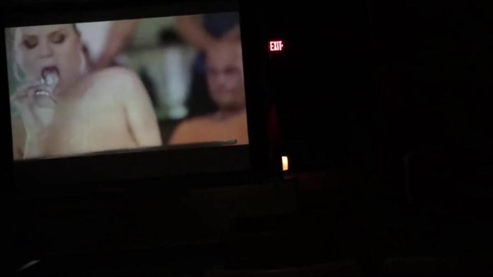 Playing with Girlfriend at Porn Theater in Public