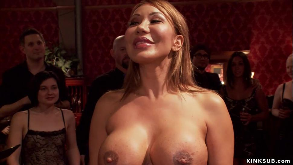 Huge tits MILF anal toyed at party