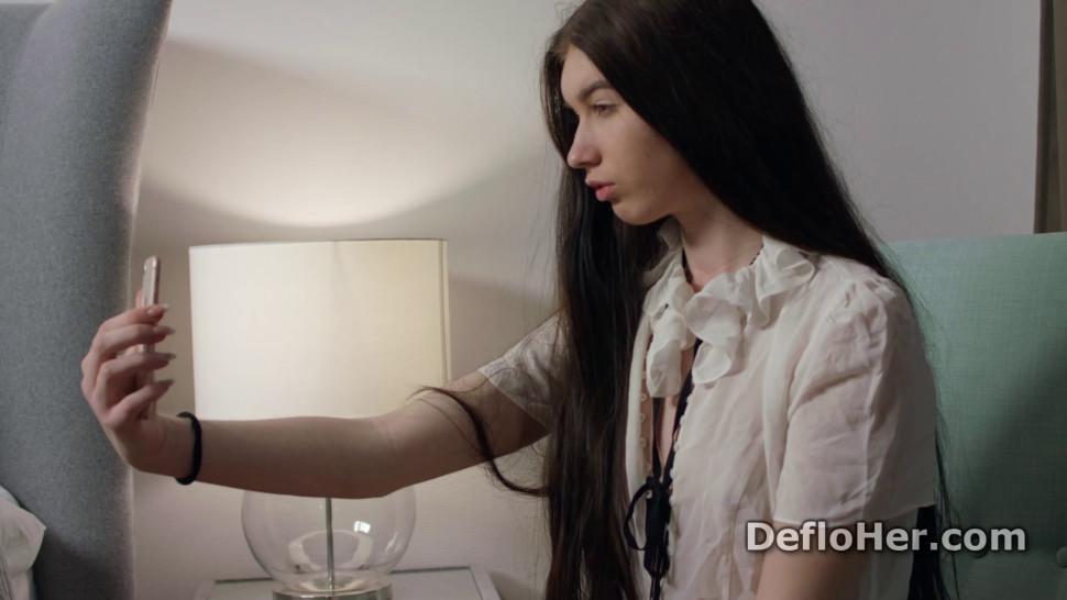 Naughty Anna Klavkina takes a naked selfie and masturbates
