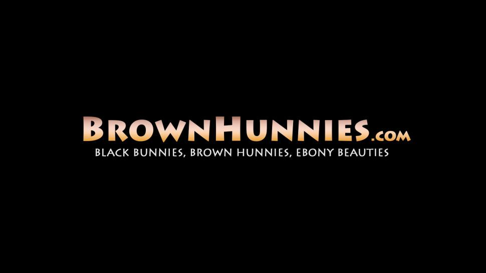 BROWN HUNNIES - Curvy black beauty gags on white dick before being hammered