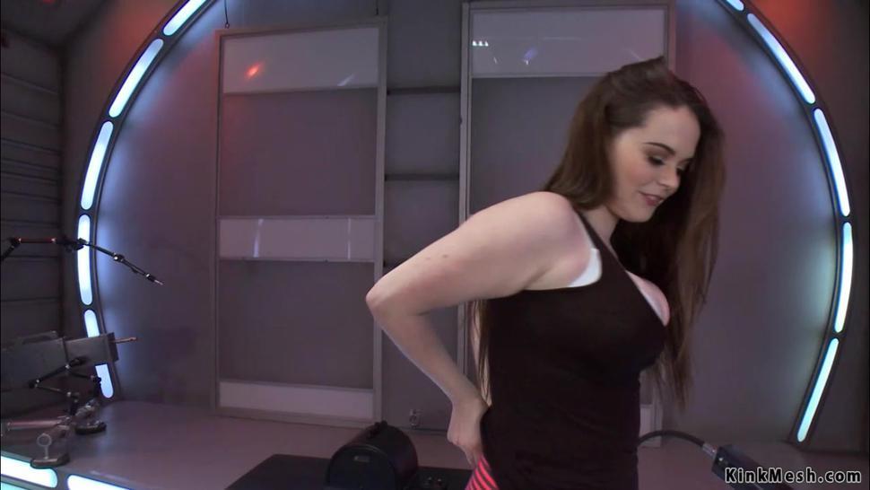 Natural big tits brunette fucks machine