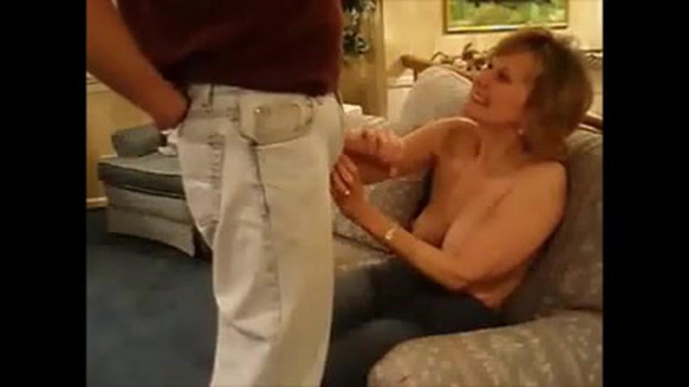 Blonde mature wife sucking dick and get facial