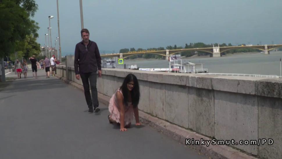 Busty brunette butt plugged in public