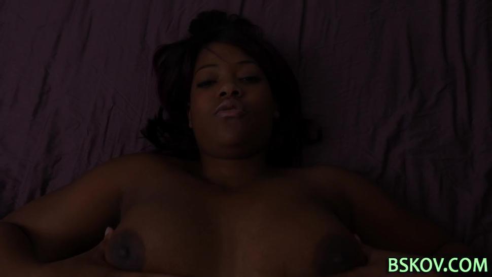 Busty chubby black pornstar masturbates