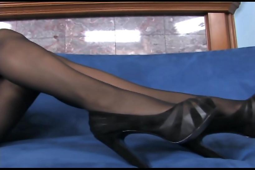 LINGERIE VIDEOS - Busty blonde MILF teases in sheer black pantyhose