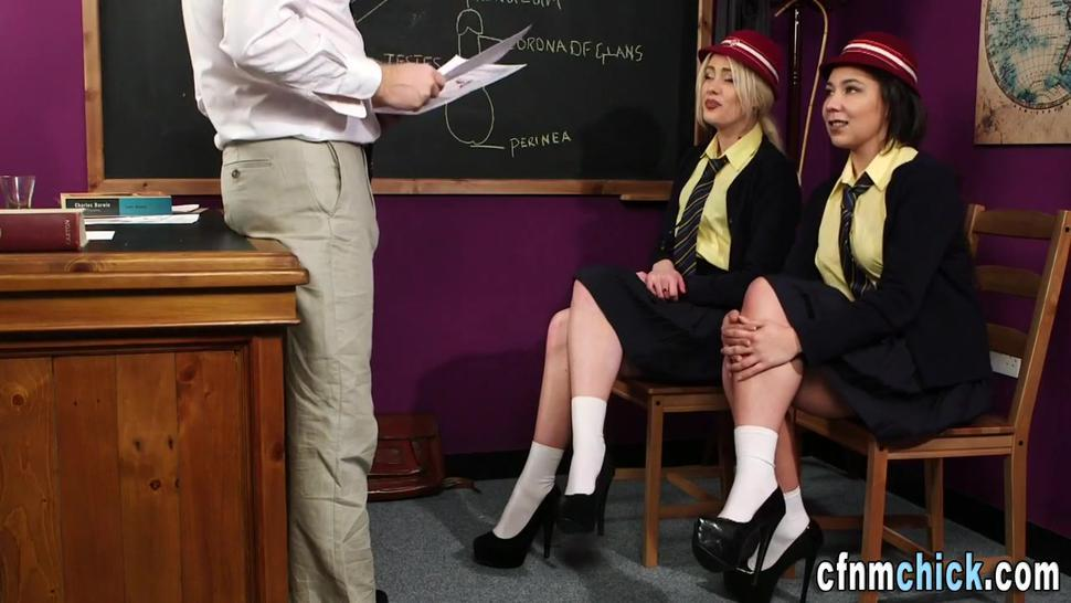 Brit students cfnm sucking and jerking