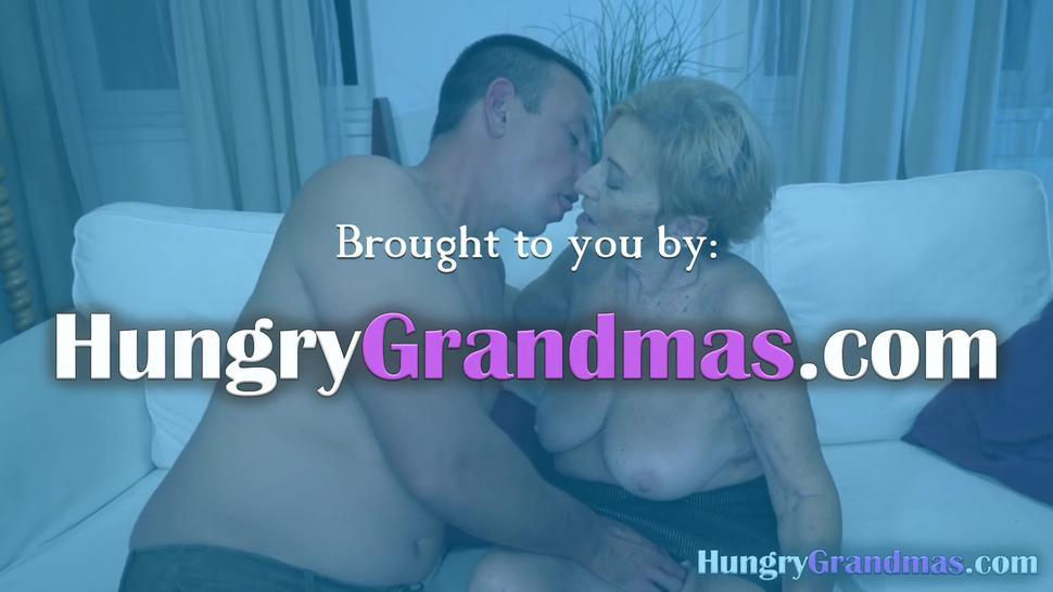 Stud ravishes blonde granny two times his age