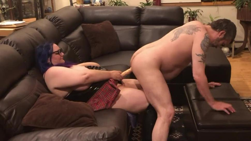 My Fuck slut hubby riding my strapon cock then face down ass up like a good slut for a rough pegging