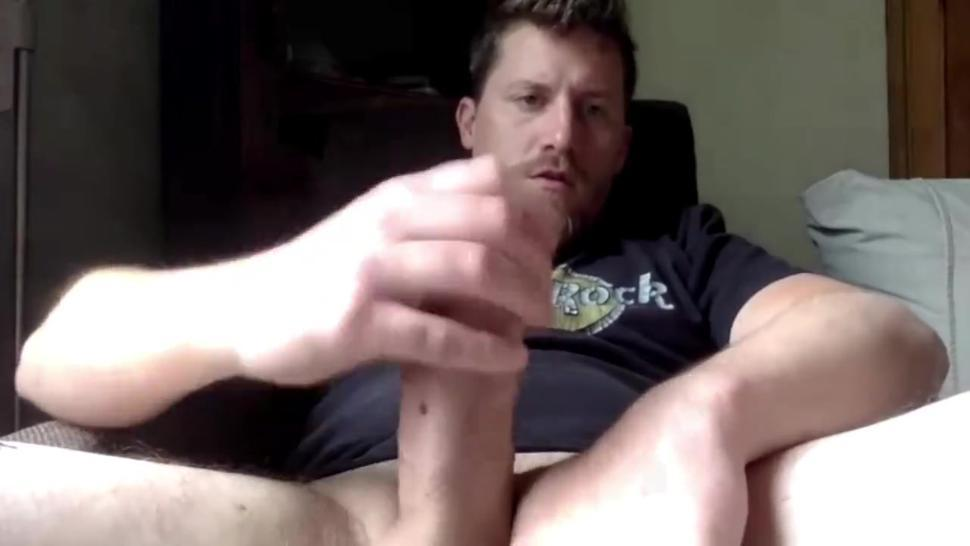 Hunky mountain dad shoots a load