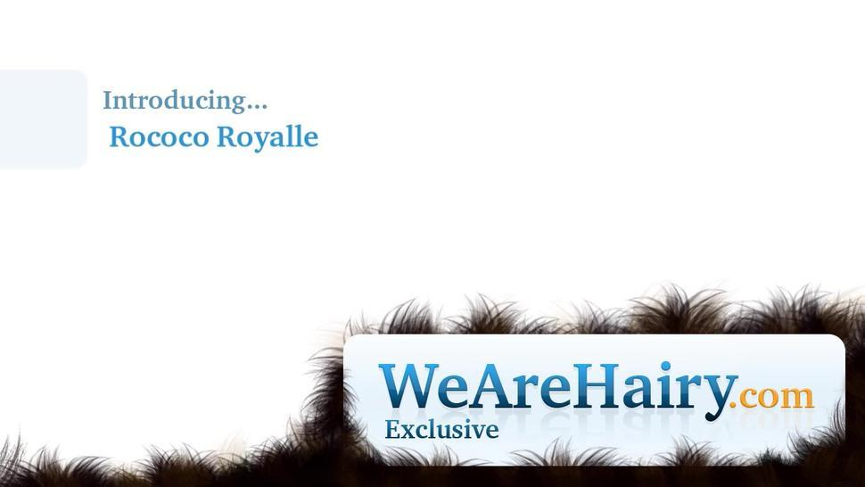 We Are Hairy - Rococo Royalle strips naked by the fireplace