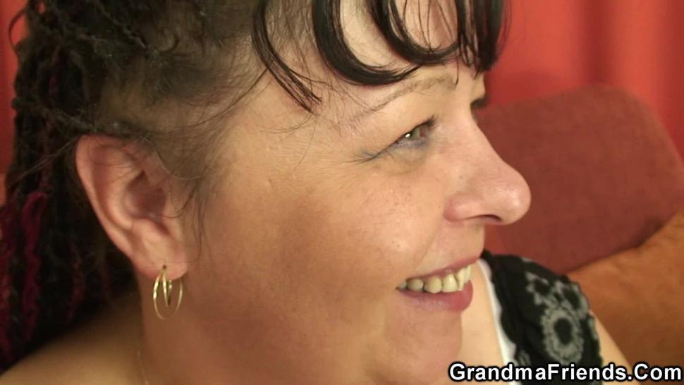 GRANDMA FRIENDS - Two buddy share chubby big tits old grandma