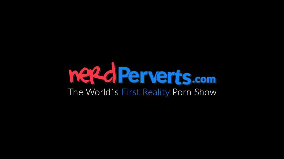 NERD PERVERTS - Nerdy UK babe Zara Du Rose down on her knees sucking cock