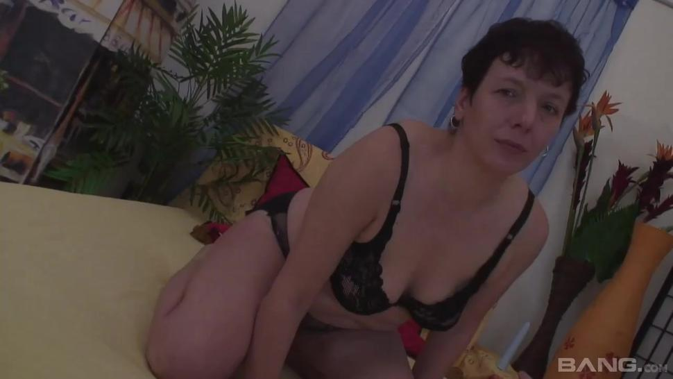 BANG.com - Mature granny fucks her hairy twat with a vibrator while sucking dick